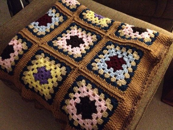 Handmade Granny Square Afghan Approximately by CastleWallsCrafts, $125.00