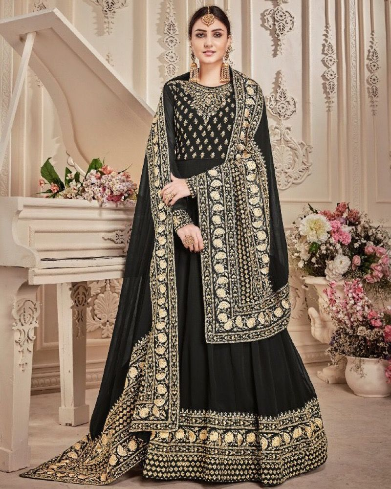 Black And Gold Anarkali with Heavy Embroidered Dupatta