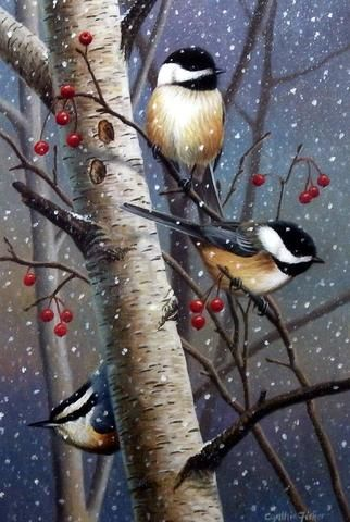 These chickadees wait out a winter snow storm in a berry filled tree in Cynthie Fisher's print Woodland Sprites. Pairs well with other Cynthie Fisher bird prints such as Garden Visitors Comes in an op
