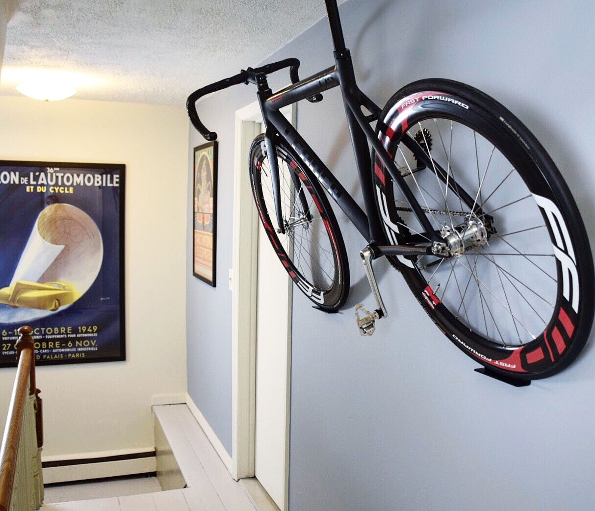 Hang Your Bike Our Make It Pay Rent Pedal Hook Bike Rack System Ceiling Lights Coffered Ceiling Diy Purple Ceiling Fan