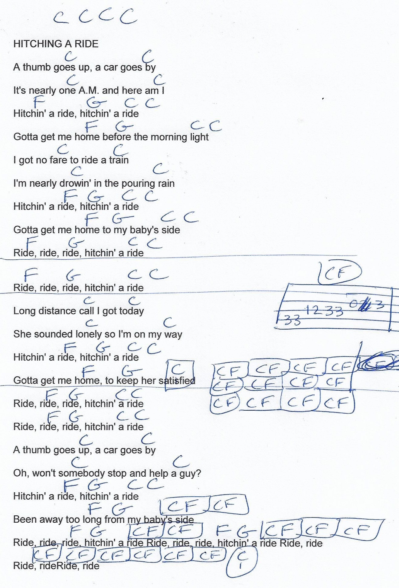 Hitchin A Ride Vanity Fare Guitar Chord Chart In C Real Key