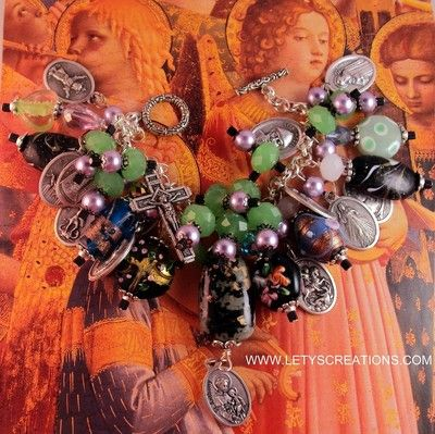 Handcrafted Catholic Patron Saint Anthony Relic Religious Medals Charm Bracelet www.letyscreations.com