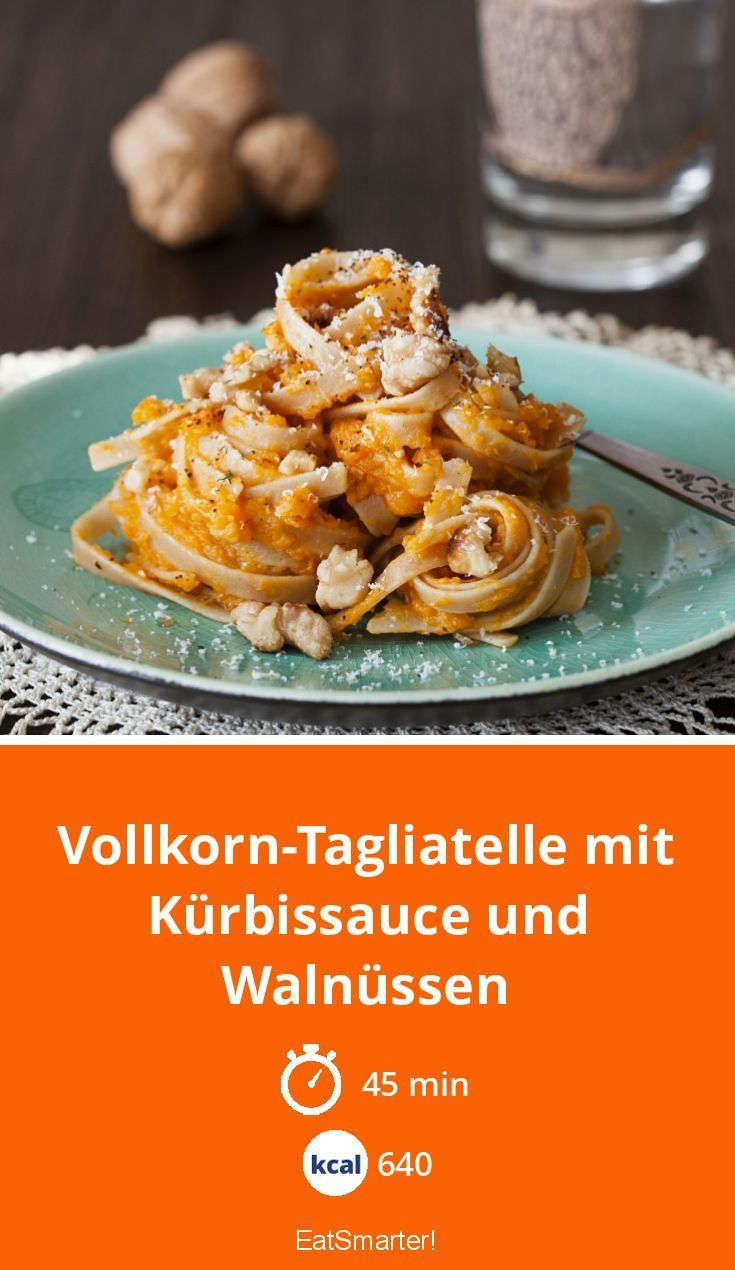 Whole wheat tagliatelle with pumpkin sauce and walnuts - -