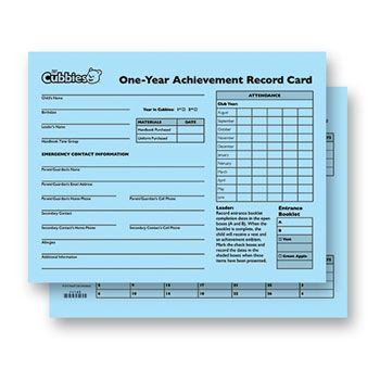 NEW! Awana Cubbies One-Year Achievement Record Card