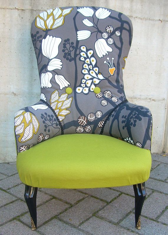 Charming Loving Chairs At Themoment And Love This Colour Combination! Floral Fabric  Chair By LorenDesignStore