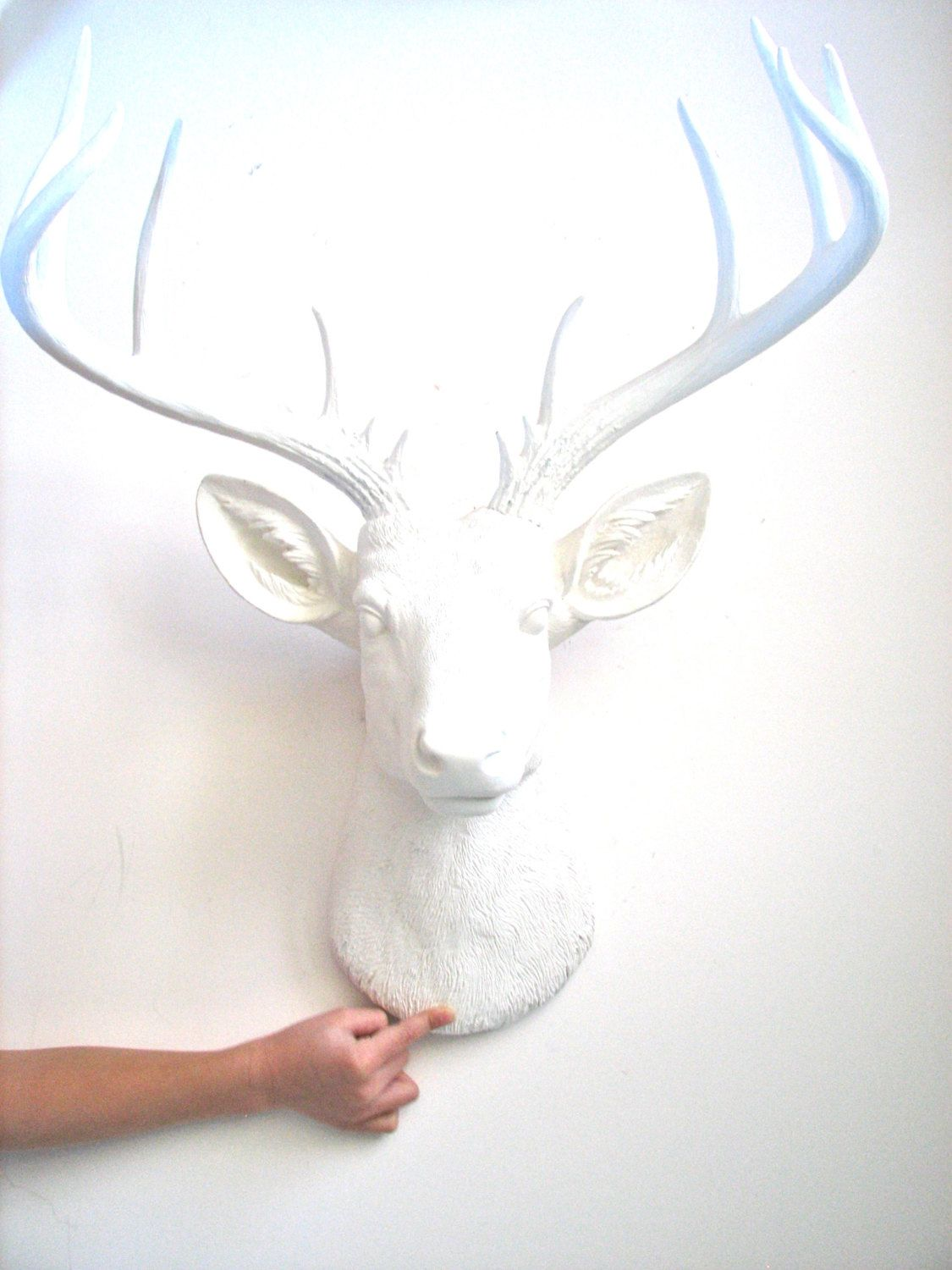 X-Large Faux Taxidermy Deer Head wall mount hanging nursery kids rooms office home decor:  Doug the XL Deer head in all white by mahzerandvee on Etsy https://www.etsy.com/listing/220100067/x-large-faux-taxidermy-deer-head-wall
