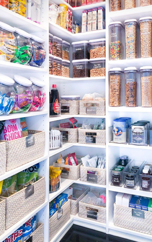Khloe Kardashian Gave Her Incredibly Organized Pantry A Makeover Take A Tour Pantry Design Kitchen Organization Pantry Corner Pantry Organization