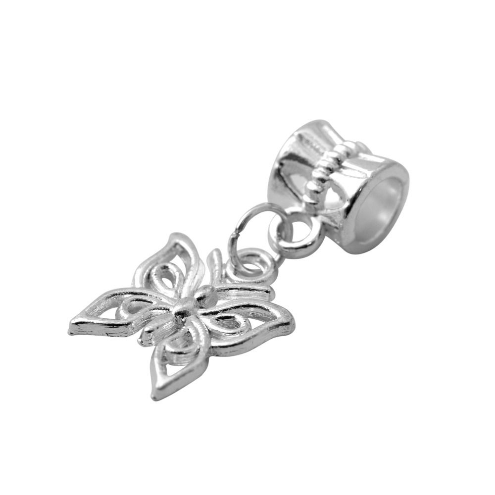 Free shipping new diy silver bead alloy european butterfly pendant