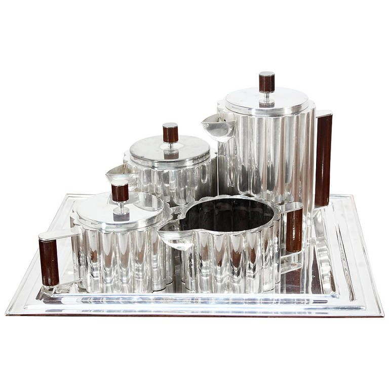 Art Deco Silverplate Tea Set with Tray | From a unique collection of antique and modern tea sets at https://www.1stdibs.com/furniture/dining-entertaining/tea-sets/