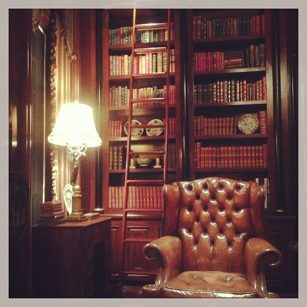 A very masculine library The rug the columns with urns the