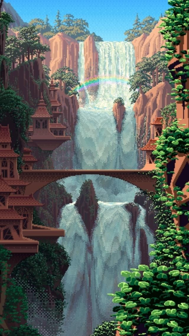 Serene pixel waterfall iPhone wallpaper