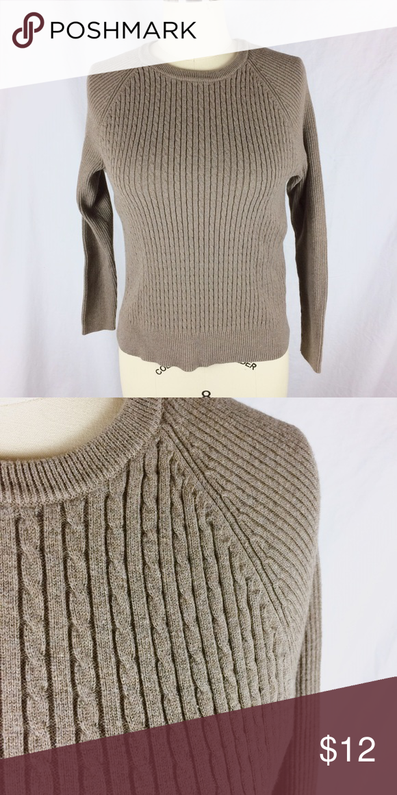 a0768cece9451 Jeanne Pierre- sweater Crew neck cable knit sweater. jeanne pierre Sweaters  Crew   Scoop Necks