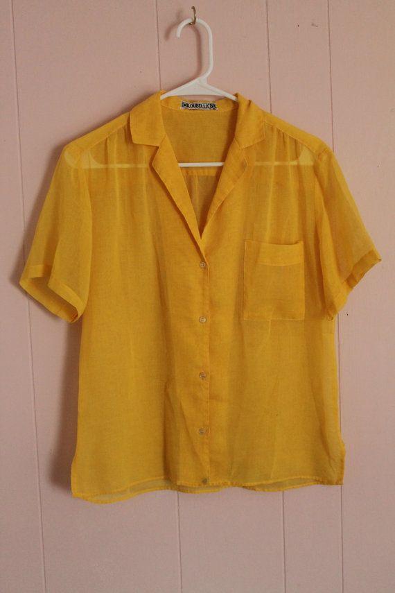 12beb177ba485c Vintage 80's Women's Mustard Yellow Sheer Button-up Short Sleeve Blouse