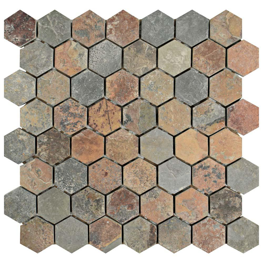 Merola Tile Crag Hexagon Sunset 11 1 8 In X 11 1 8 In X 10 Mm Slate Mosaic Tile Gdxchxs With Images Stone Mosaic Tile Hexagonal Mosaic Mosaic Flooring