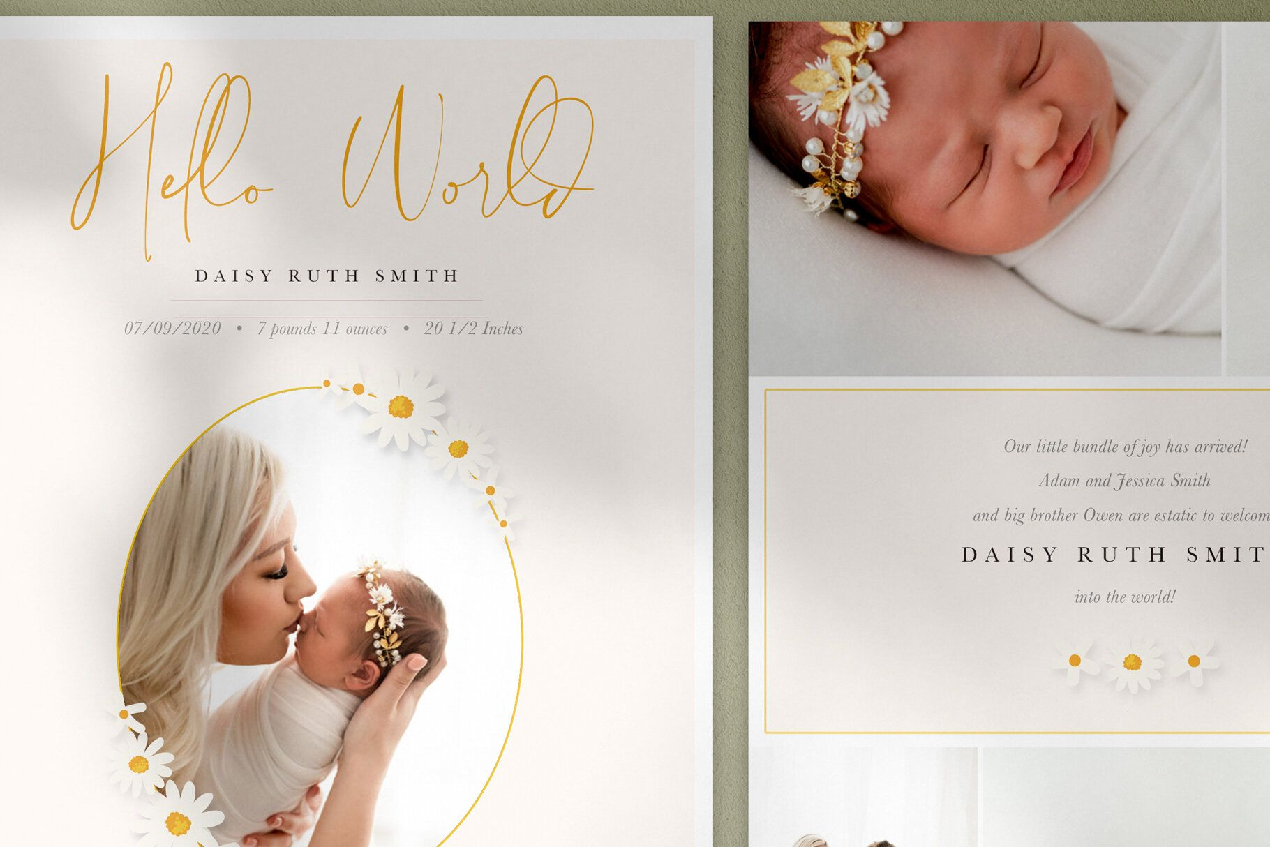 Daisies Girl Baby Announcement Free Matching 3x3 Ornate Card By Stephanie Design Birth Announcement Template Photo Card Template Photoshop Template Design