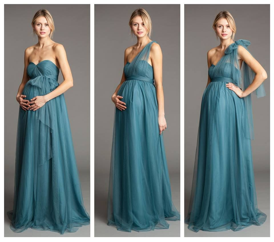 Blue Silk Multiway Maternity Evening Gown | Seraphine | Pregnancy ...