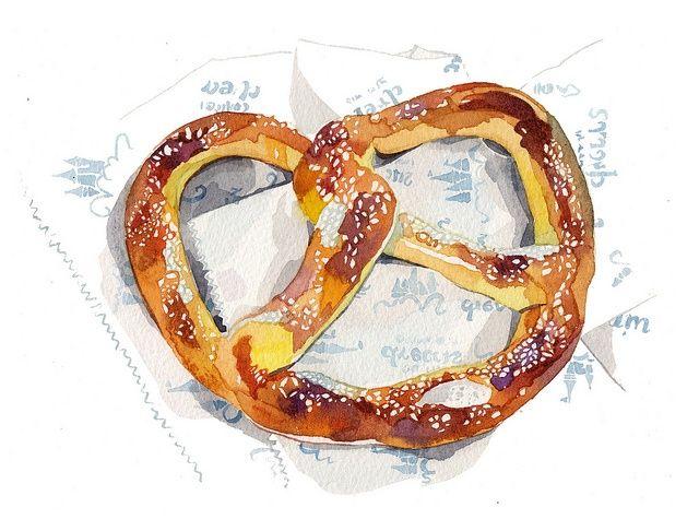 illustrated pretzel watercolor Brezen Zeichnung  06d14a207b2