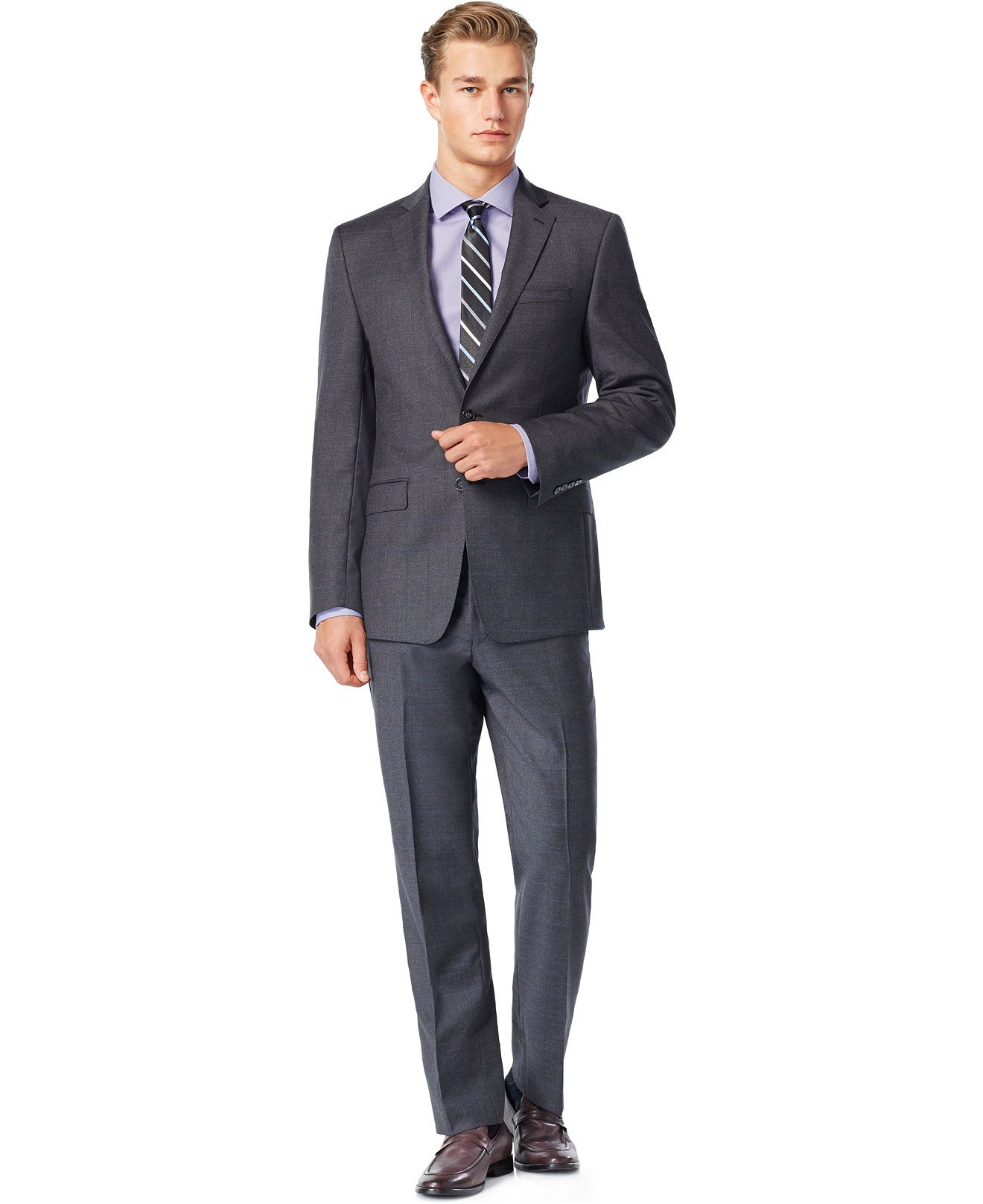 Calvin Klein Grey Windowpane with Blue Deco Extreme Slim-Fit Suit - Suits \u0026  Suit Separates - Men - Macy\u0027s