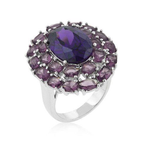 Purple Cubic Zirconia Flower Ring