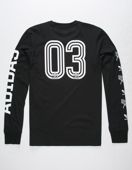 7ea156f5c 03 graphic with Adidas logos screened on back. Adidas and Adidas logos  screened down long sleeve. Ribbed cuffs. Adidas tag at hem. Crew neck. 100%  cotton.