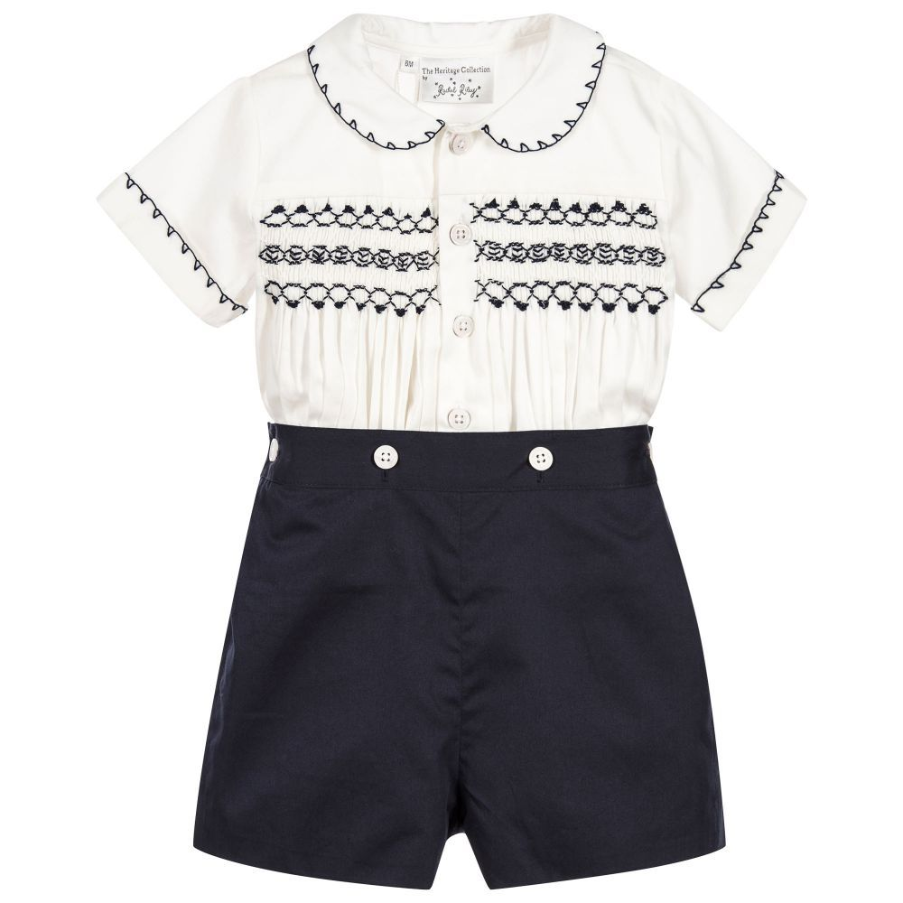 Best dress to wear to a baptism  Boys traditional ivory and navy blue handsmocked buster suit by