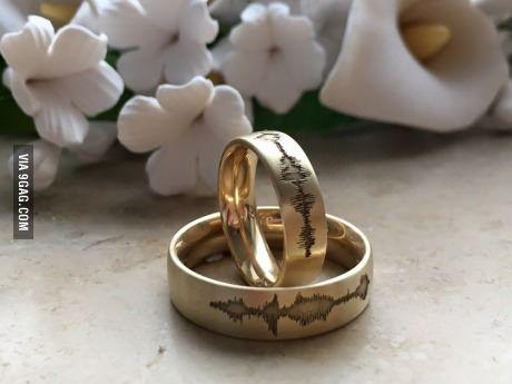 """I love you""-soundwave on wedding rings"