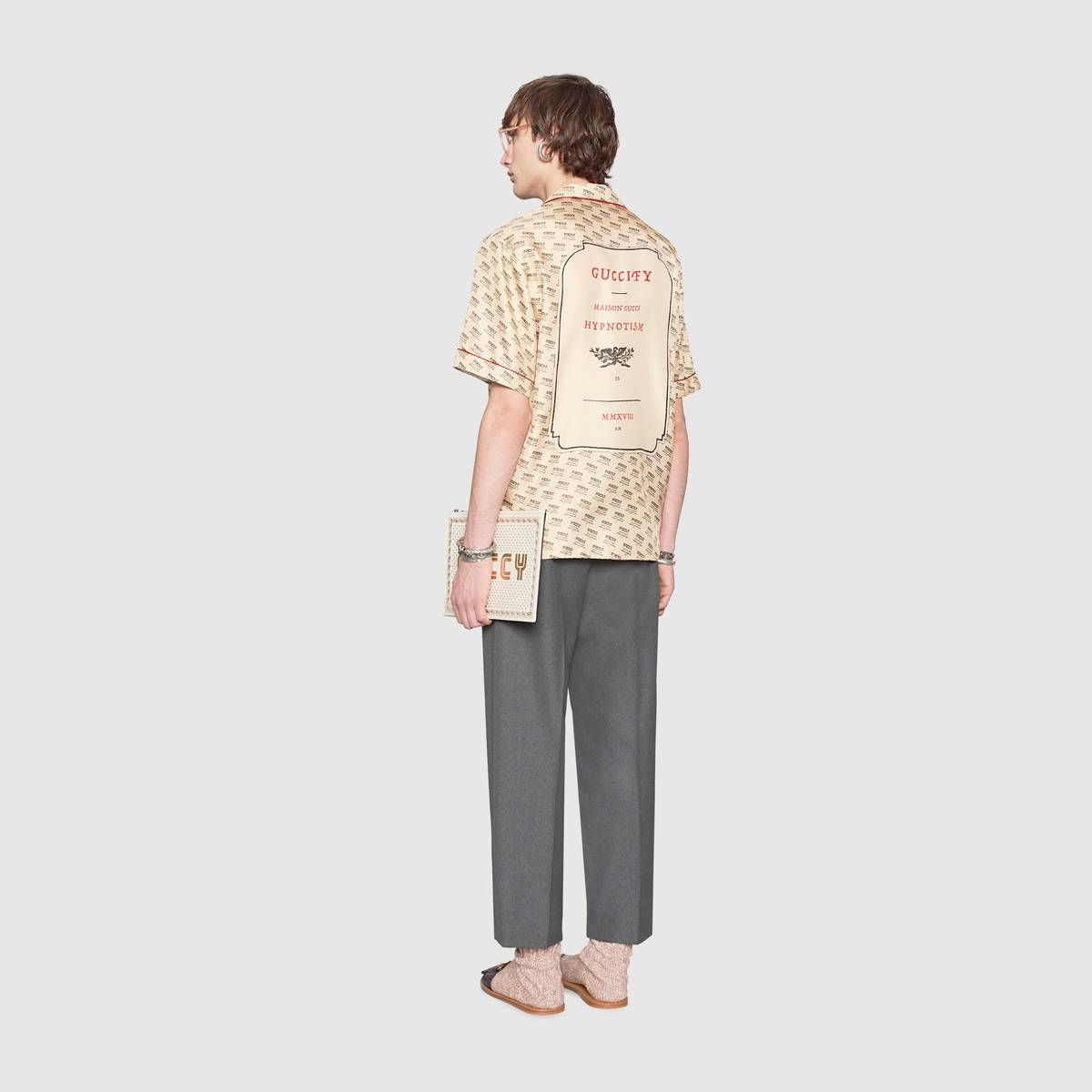 d82a0a33 Shop the Gucci stamp bowling shirt by Gucci. The Spring Summer 2018 fashion  show invite