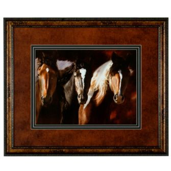 Framed and matted large picture featuring three horses.