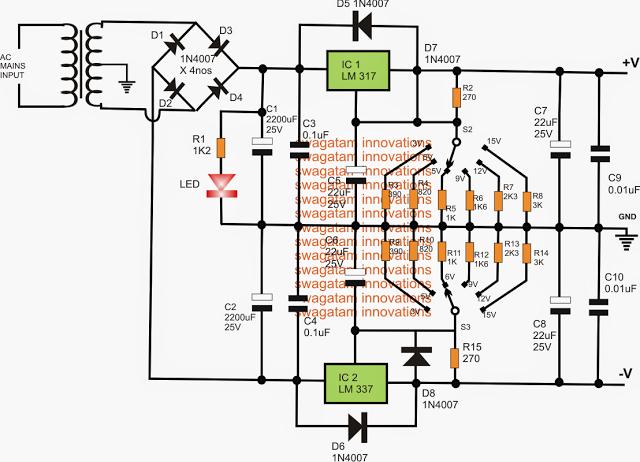 3V,5V,6V,9V,12,15V Dual Power Supply circuit Using LM317