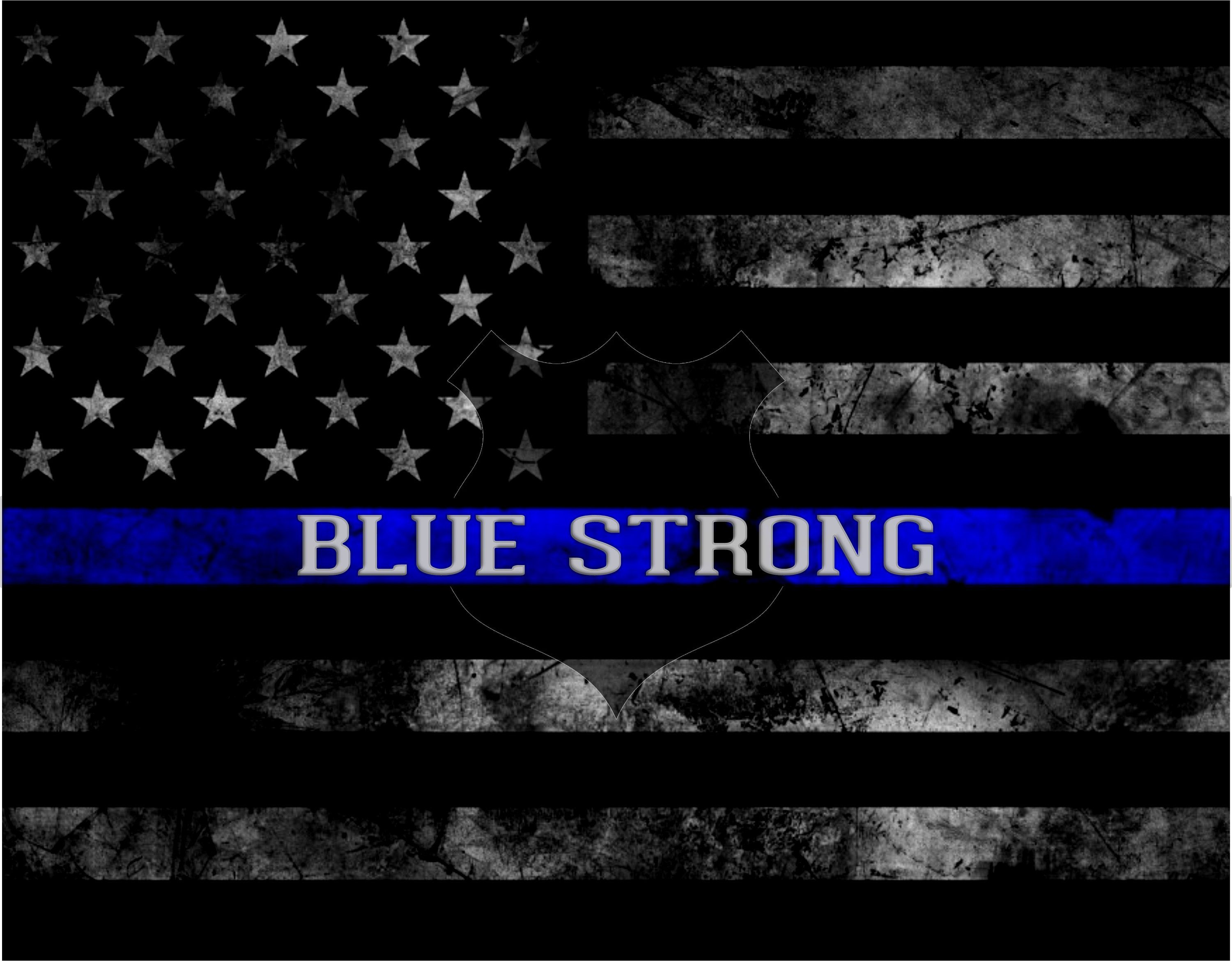 Law Enforcement Support/Thin Blue Line Blue Strong. Can