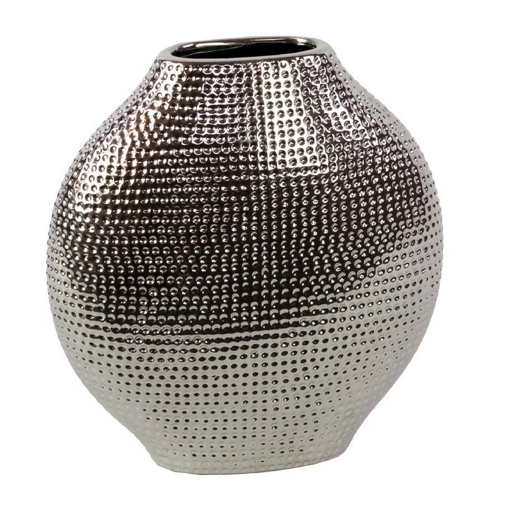 Ceramic Bellied Eliptical Vase Dimpled Ceramic Vase Table Vases