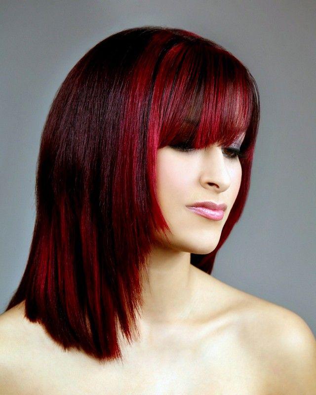 Medium Length Dark Red Hairstyles for new look