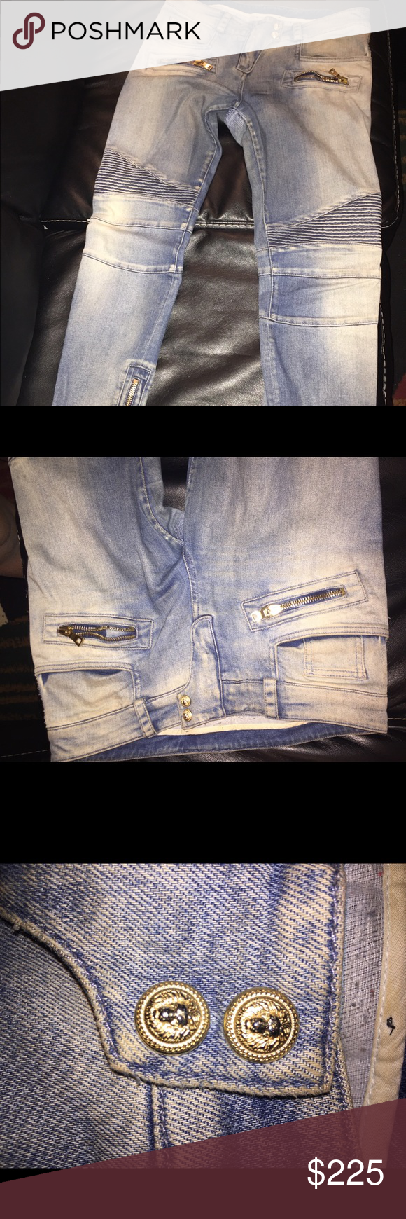 64b487f8 Authentic Balmain Jeans 100% authentic Balmain Biker Jeans. •Medium Wash  •Gold Hardware •Worn •These Jeans have been repaired between thigh; high  quality ...