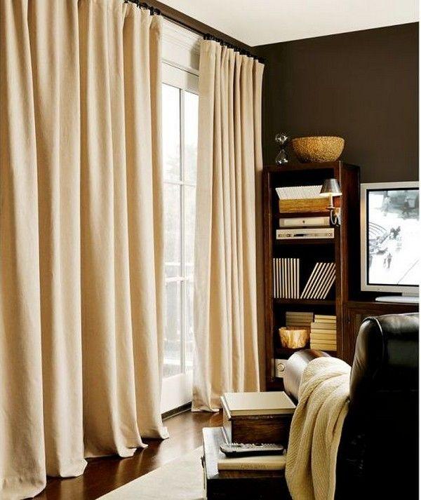 Vorhänge beige neutrale Farbe braunes Wohnzimmer | Wohnen ...