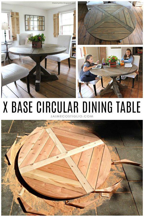 DIY X Base Circular Dining Table | Neat things for Ryan | Pinterest ...