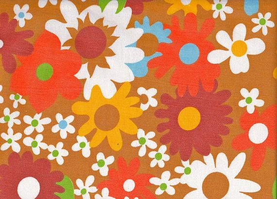 Vintage 1970s Brown and Orange Floral French Sheet by Pommedejour, $19.99