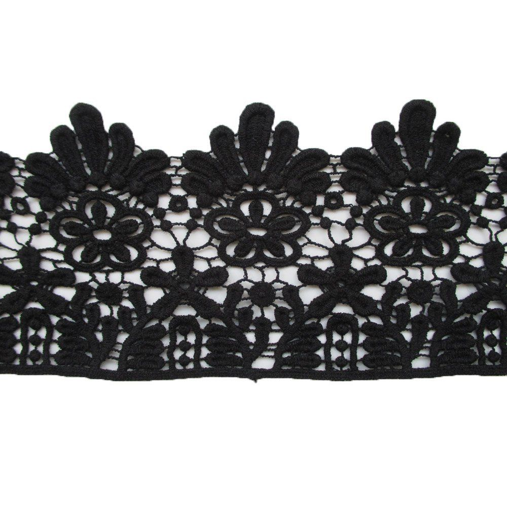 4 inch wide black cotton embroidered cluny lace trim fabric for