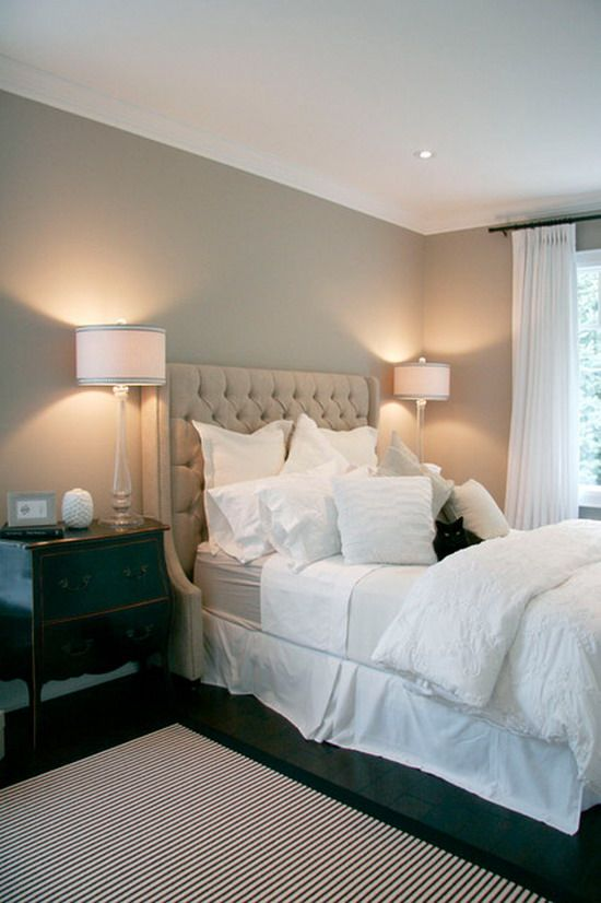 Master Bedroom Grey Walls white bed and grey wall decoration in traditional master bedroom
