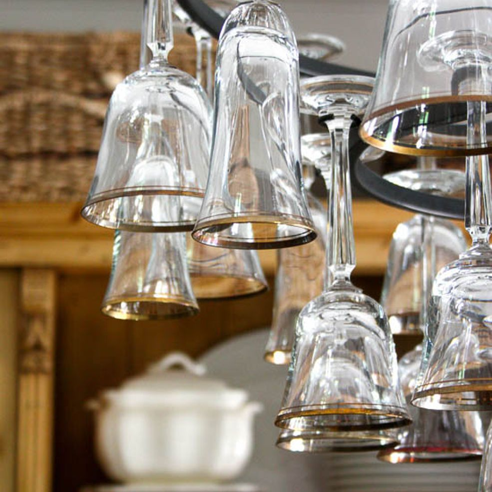 wine glass chandelier how to make
