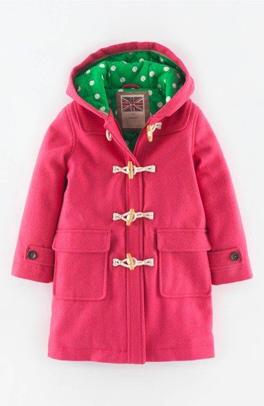 Mini Boden 'Funky' Hooded Duffle Coat (Toddler Girls, Little Girls ...