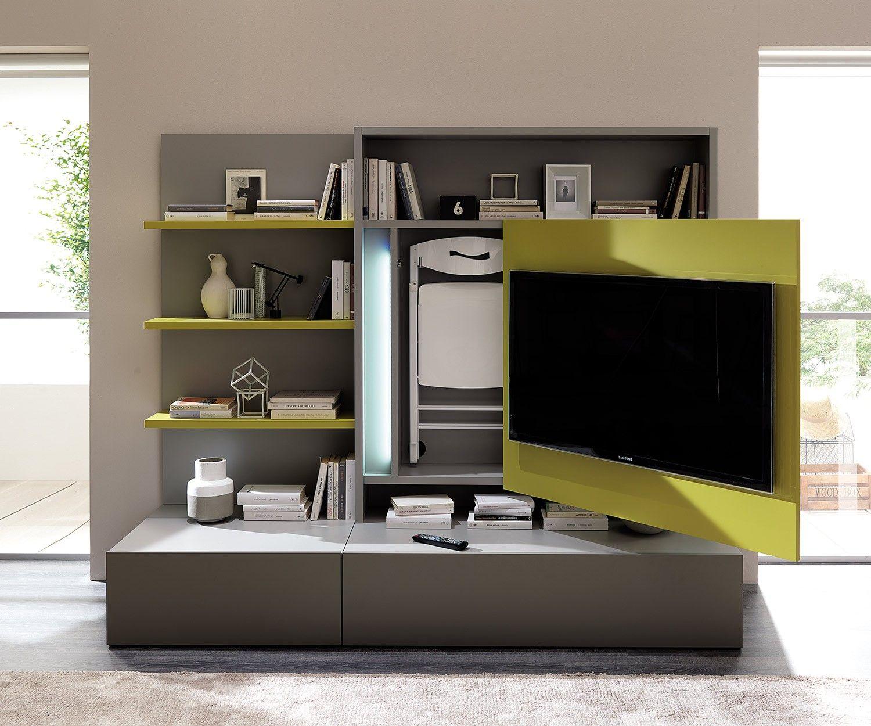 ausziehbare tv wand smartliving von ozzio aus italien erhltlich in 6 farbvarianten mit integriertem - Ausziehbare Esstische Fr Kleine Rume