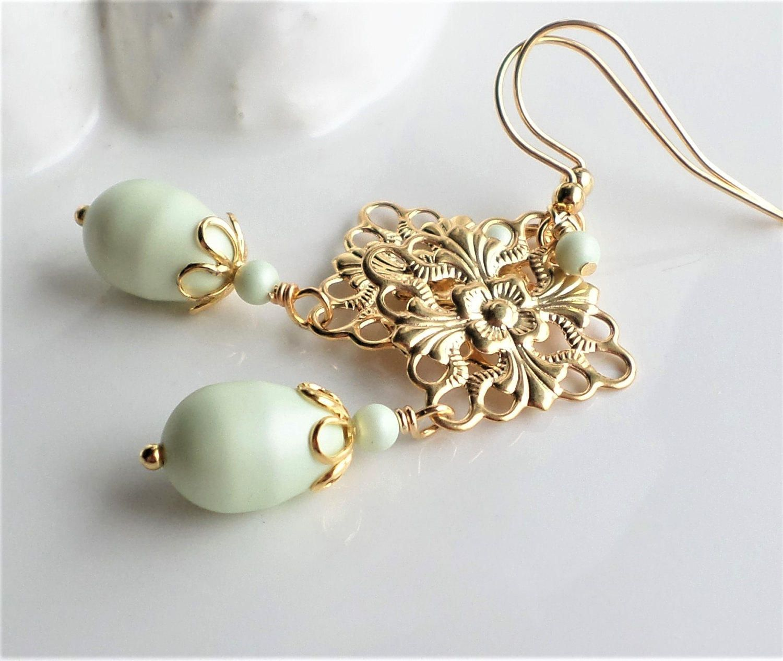 Light green pearl earrings gold chandelier earrings pearl earrings pastel green swaovski pearl gold filigree chandelier earrings pearl earrings gold filigree fashion earrings arubaitofo Choice Image