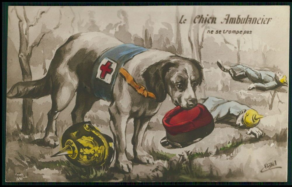 WWI RED CROSS ALSATION WAR DOGS /& SOLDIER DOG ART PAINTING REAL CANVAS PRINT