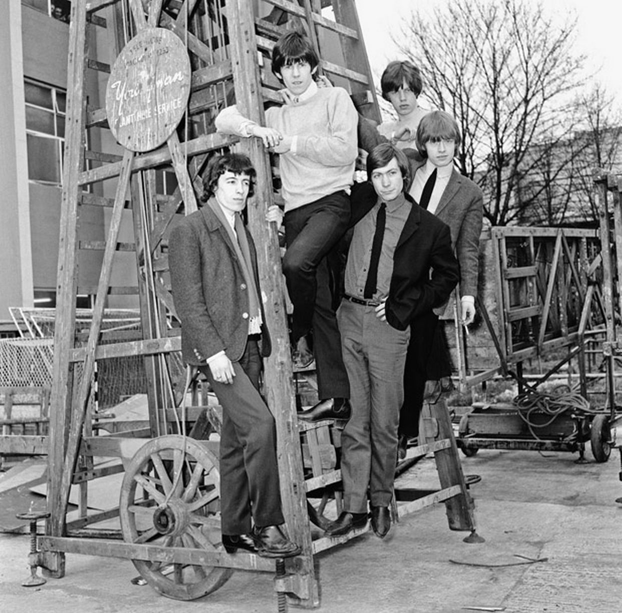The Rolling Stones at the Mad Mod Ball. l-r Bill Wyman, Keith Richards, Charlie Watts, Mick Jagger and Brian Jones. 8th September 1964
