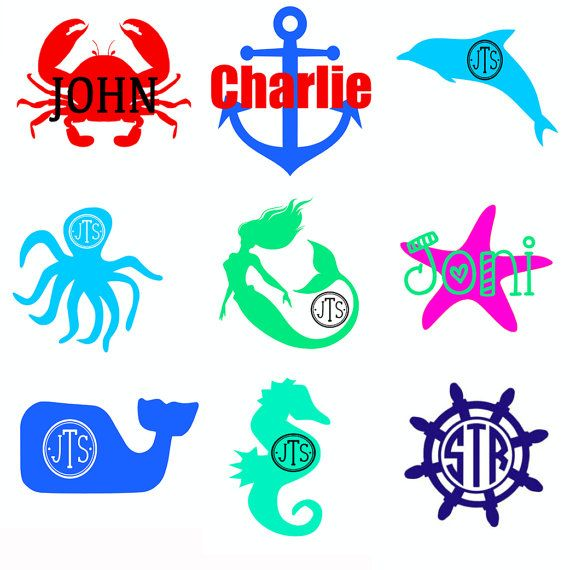 Beach Decal Crab Ancho Mermaid Starfish Octopus Whale Seahorse - Beach vinyl decals