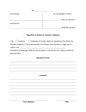 if a motion for summary judgment has been made this legal form can