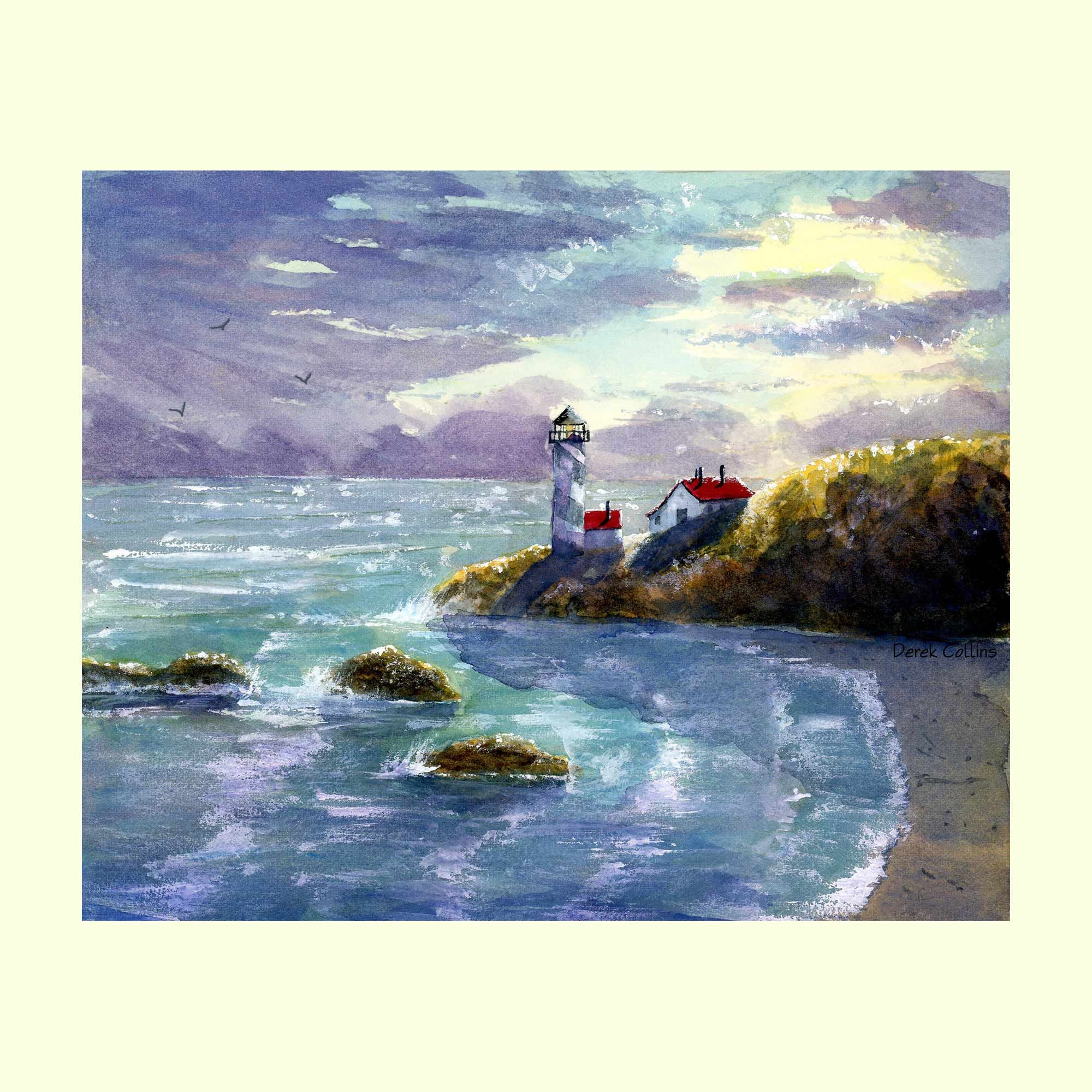 Bass Harbor Lighthouse painting PRINT Maine Bar Harbor Acadia Nautical  GICLEE reproduction East Coast Derek
