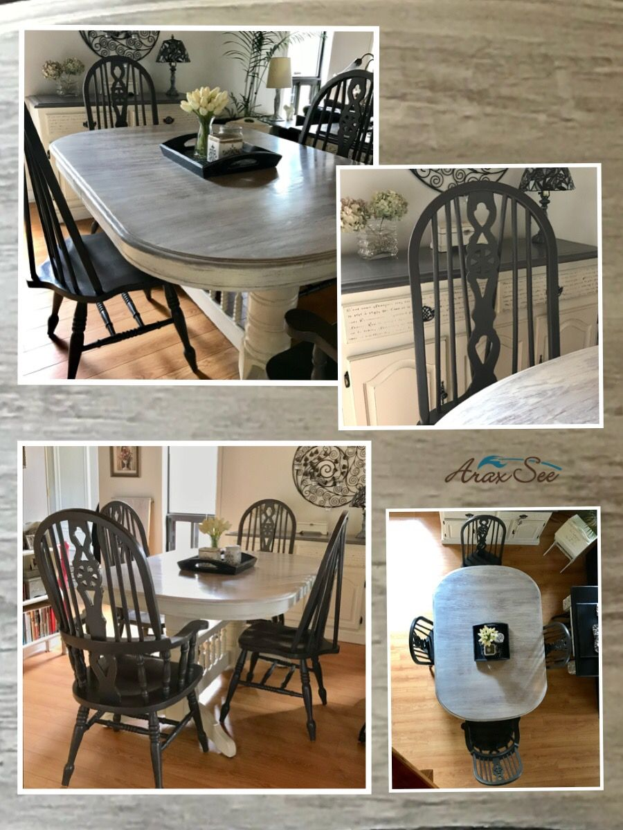 Farmhouse Oak Table Set White Washed Top With Contrasting Grey Distressed Chairs Oak Dining Room Set Refurbished Table White Farmhouse Table