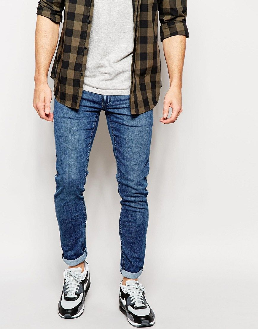 Asos extreme super skinny jeans in mid wash