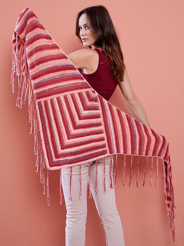 Strikkeopskrift: Sjal med frynser #strikkedesjaler